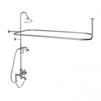 Barclay Products Rectangular Shower Unit – Metal Cross Handles Polished Chrome in White Background