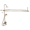 Barclay Products Rectangular Shower Unit – Metal Cross Handles Polished Brass in White Background