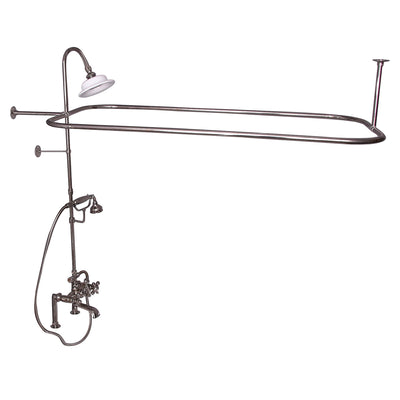 Barclay Products Rectangular Shower Unit – Metal Cross Handles Polished Nickel in White Background