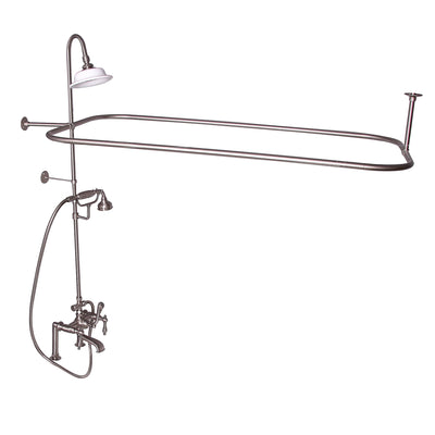 Barclay Products Rectangular Shower Unit – Metal Lever Handles Brushed Nickel in White Background