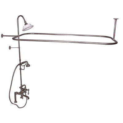 Barclay Products Rectangular Shower Unit – Metal Lever Handles Polished Nickel in White Background