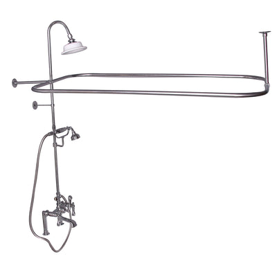 Barclay Products Rectangular Shower Unit – Metal Lever 2 Handles Polished Chrome in White Background