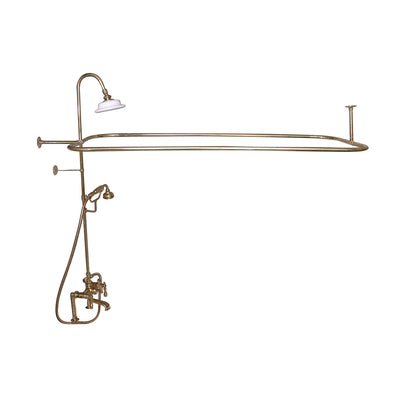 Barclay Products Rectangular Shower Unit – Metal Lever 2 Handles Polished Brass in White Background