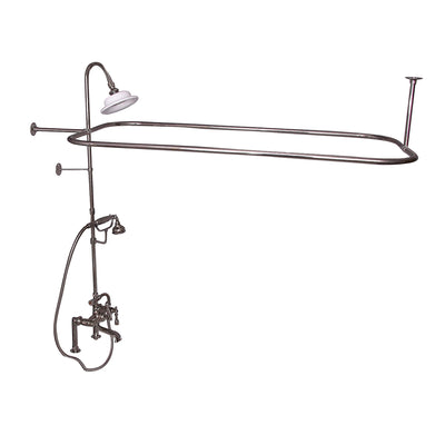 Barclay Products Rectangular Shower Unit – Metal Lever 2 Handles Polished Nickel in White Background