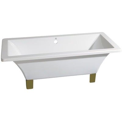 "Kingston Brass Aqua Eden 71"" Acrylic Clawfoot Square Tub Freestanding Bathtubs Chrome Front View White Background"
