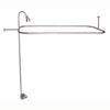 "Barclay Products Code Spout ""D"" Rod Clawfoot Tub Shower Unit Brushed Nickel in White Background"