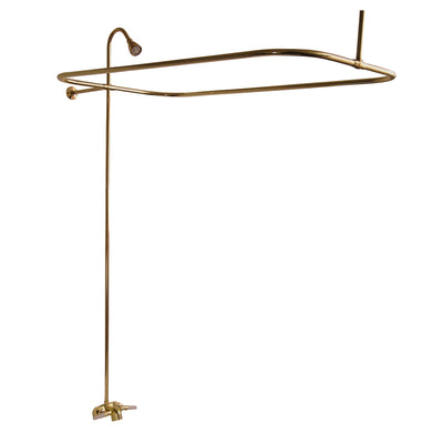 "Barclay Products Converto 54"" Rectangular Clawfoot Shower Unit Polished Brass in White Background"