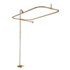 Barclay Products Converto Rectangular Shower Unit with Side Wall Support Polished Brass in White background