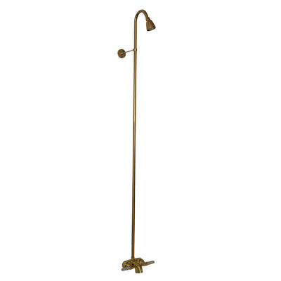 Barclay Products 4195-PB Washerless Diverter Bathcock with Riser and Showerhead Polished Brass in White Background
