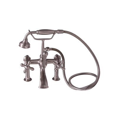 Barclay Products Clawfoot Tub Rim-Mounted Filler with Hand-Held Shower – Metal Cross Handles Brushed Nickel in White Background