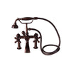 Barclay Products Clawfoot Tub Rim-Mounted Filler with Hand-Held Shower – Metal Cross Handles Oil Rubbed Bronze in White Background
