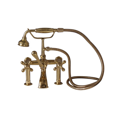 Barclay Products Clawfoot Tub Rim-Mounted Filler with Hand-Held Shower – Metal Cross Handles Polished Brass in White Background