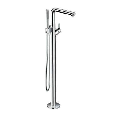 Hansgrohe Talis S free-standing Tub Filler Trim with Handshower and Diverter Chrome Front View White Background