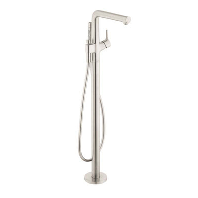 Hansgrohe Talis S free-standing Tub Filler Trim with Handshower and Diverter Brushed Nickel Front View White Background