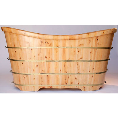 "Alfi Brand AB1105 63"" Free Standing Cedar Wood Bath Tub - Affordable Cheap Freestanding Clawfoot Bathtubs Tub"