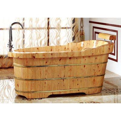 "Alfi Brand AB1139 61"" Free Standing Cedar Wooden Bathtub with Fixtures & Headrest - Affordable Cheap Freestanding Clawfoot Bathtubs Tub"