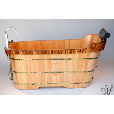 "Alfi Brand AB1148 59"" Free Standing Wood Bath Tub with Chrome Tub Filler - Affordable Cheap Freestanding Clawfoot Bathtubs Tub"