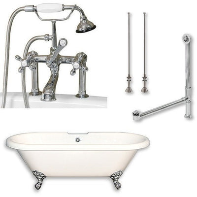 "Cambridge Plumbing ADE-463D-6-PKG Acrylic Double Ended Clawfoot Bathtub 70"" X 30"" with 7"" Deck Mount Faucet Drillings and Complete Plumbing Package - Affordable Cheap Freestanding Clawfoot Bathtubs Tub"