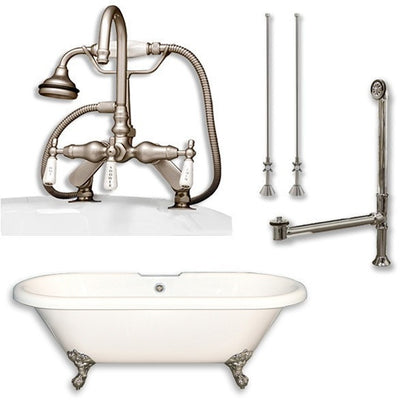 "Cambridge Plumbing Acrylic Double Ended Clawfoot Bathtub 70"" X 30"" with 7"" Deck Mount Faucet Drillings and Complete Plumbing Package - Affordable Cheap Freestanding Clawfoot Bathtubs Tub"