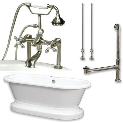 "Cambridge Plumbing ADEP-463D-6-PKG Acrylic Double Ended Pedestal Bathtub 70"" x 30"" with 7 inch Deck Mount Faucet Drillings Complete Plumbing Package - Affordable Cheap Freestanding Clawfoot Bathtubs Tub"