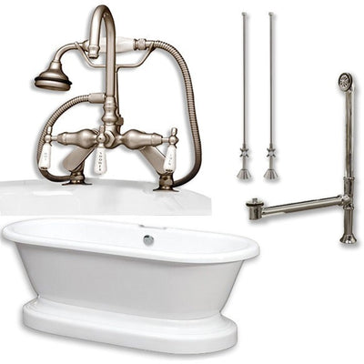 "Cambridge Plumbing Acrylic Double Ended Pedestal Bathtub 70"" X 30"" with 7 inch Deck Mount Faucet Drillings and Complete Plumbing Package - Affordable Cheap Freestanding Clawfoot Bathtubs Tub"