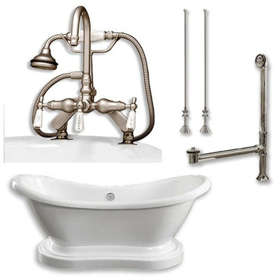 "Cambridge Plumbing Acrylic Double Ended Pedestal Slipper Bathtub 68"" X 28"" with 7"" Deck Mount Faucet Drillings and Brushed Nickel Plumbing Package - Affordable Cheap Freestanding Clawfoot Bathtubs Tub"