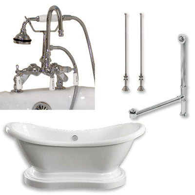 "Cambridge Plumbing Acrylic Double Ended Pedestal Slipper Bathtub 68"" X 28"" with 7"" Deck Mount Faucet Drillings and Complete Plumbing Package"