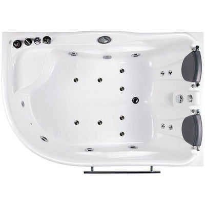 "EAGO AM124ETL-L 71"" Double Corner Acrylic White Jetted Whirlpool Tub Top View White Background"