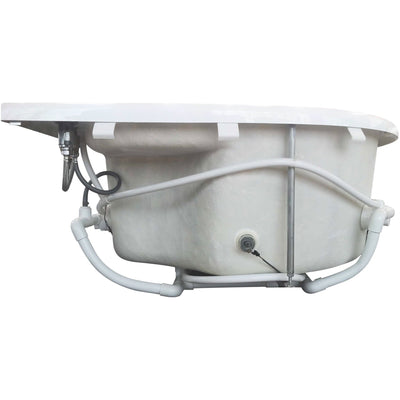 "EAGO AM124ETL-L 71"" Double Corner Acrylic White Jetted Whirlpool Tub"