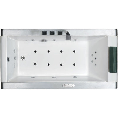 "EAGO AM151-L Left Drain 71"" Colorful Light Up Modern Acrylic Whirlpool Freestanding Bathtubs White Background"