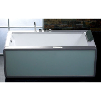 "EAGO AM151-L Left Drain 71"" Colorful Light Up Modern Acrylic Whirlpool Freestanding Bathtubs Front View in Bathroom"