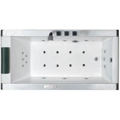 "EAGO AM151-R Right Drain 71"" Colorful Light Up Modern Acrylic Whirlpool Freestanding Bathtubs Inside View"