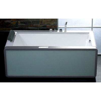 "EAGO AM151-R Right Drain 71"" Colorful Light Up Modern Acrylic Whirlpool Freestanding Bathtubs Front View in Bathroom"