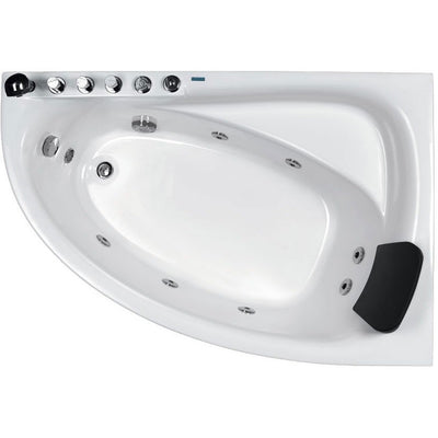 "EAGO AM161-L 59"" Single Person Corner White Acrylic Whirlpool Freestanding Bathtubs Top View White Background"