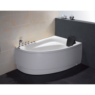 "EAGO AM161-L 59"" Single Person Corner White Acrylic Whirlpool Freestanding Bathtubs Front View in Bathroom"