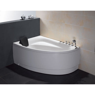 "EAGO AM161-R 59"" Single Person Corner White Acrylic Whirlpool Freestanding Bathtubs Front View in Bathroom"