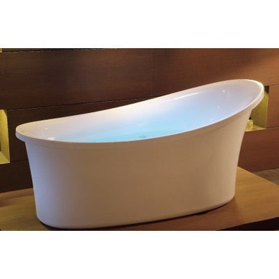 EAGO AM1800 Six Foot White Freestanding Air Bubble Bathtub Front View in Bathroom