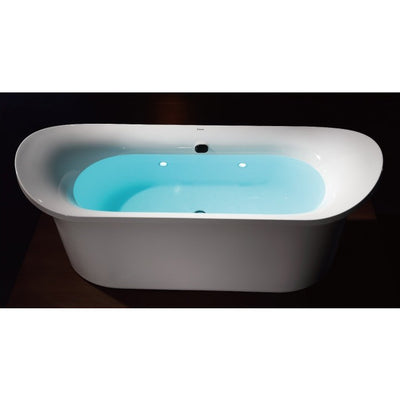 EAGO AM1900 74 3/4 Inch White Freestanding Air Bubble Bathtub Drain Inside View in Bathroom