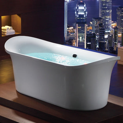 EAGO AM1900 74 3/4 Inch White Freestanding Air Bubble Bathtub Front View in Bathroom