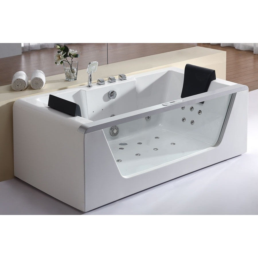 EAGO AM196ETL 6\' Clear Rectangular Whirlpool Bath Tub for Two with ...