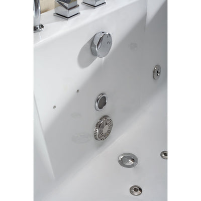 EAGO AM196 6' Clear Rectangular Whirlpool for Two with Fixtures Freestanding Bathtubs Drain View