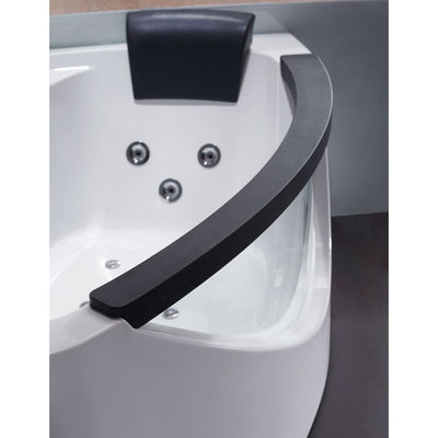 EAGO AM198-L 5' Left Drain Rounded Clear Modern Corner Whirlpool Bath Tub - Affordable Cheap Freestanding Clawfoot Bathtubs Tub