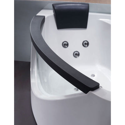 EAGO AM198-R 5' Right Drain Rounded Clear Modern Corner Whirlpool Freestanding Bathtubs Side View In Bathroom