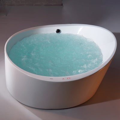 EAGO AM2130 66 Inch Round Acrylic Air Bubble Freestanding Clawfoot Bathtubs Top View with Water in Bathroom