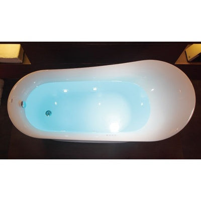 EAGO AM2140 Six Foot White Air Bubble Freestanding Bathtubs Top View With Water Light on
