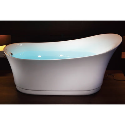 EAGO AM2140 Six Foot White Air Bubble Freestanding Bathtubs Front View in Bathroom