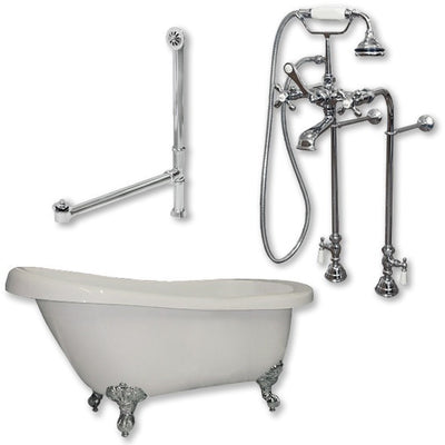 "Cambridge Plumbing Acrylic Slipper Bathtub 61"" X 28"" with No Faucet Drillings and Complete Plumbing Package - Affordable Cheap Freestanding Clawfoot Bathtubs Tub"