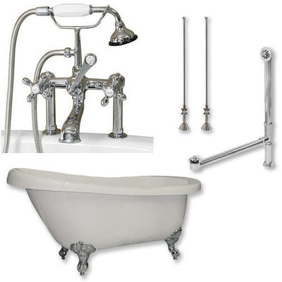 "Cambridge Plumbing AST61-463D-6 Acrylic Slipper Bathtub 61"" X 28"" with 7"" Deck Mount Faucet Drillings and Complete Plumbing Package - Affordable Cheap Freestanding Clawfoot Bathtubs Tub"
