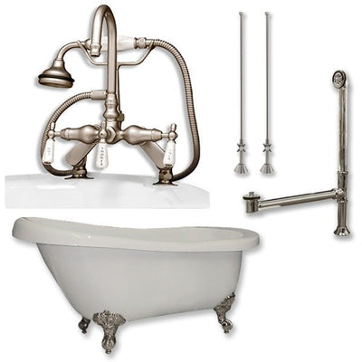 "Cambridge Plumbing Acrylic Slipper Bathtub 61"" X 28"" with 7"" Deck Mount Faucet Drillings and Complete Plumbing Package - Affordable Cheap Freestanding Clawfoot Bathtubs Tub"