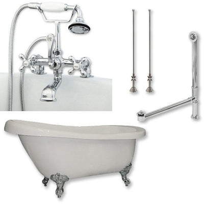 "Cambridge Plumbing Acrylic Slipper Bathtub 67"" X 28"" with 7"" Deck Mount Faucet Drillings and British Telephone Style Faucet Complete Plumbing Package - Affordable Cheap Freestanding Clawfoot Bathtubs Tub"